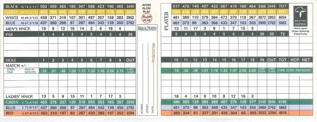 Kings North Myrtle Beach Course Score Card