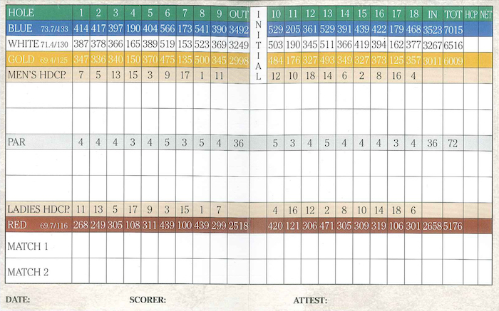 Myrtlewood Palmetto Score Card